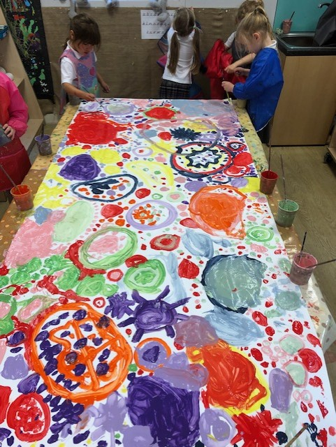Puffins Painting Circles