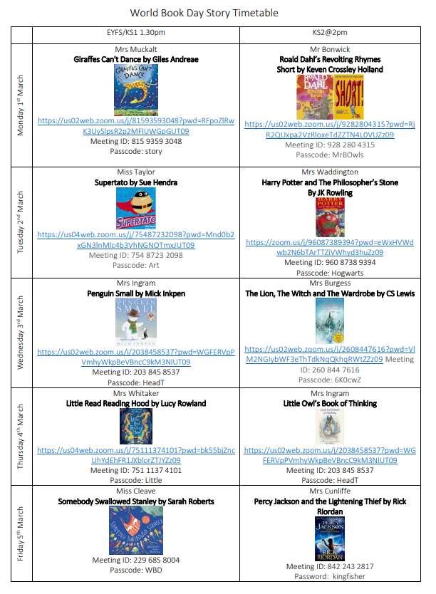 World Book Day Story Timetable